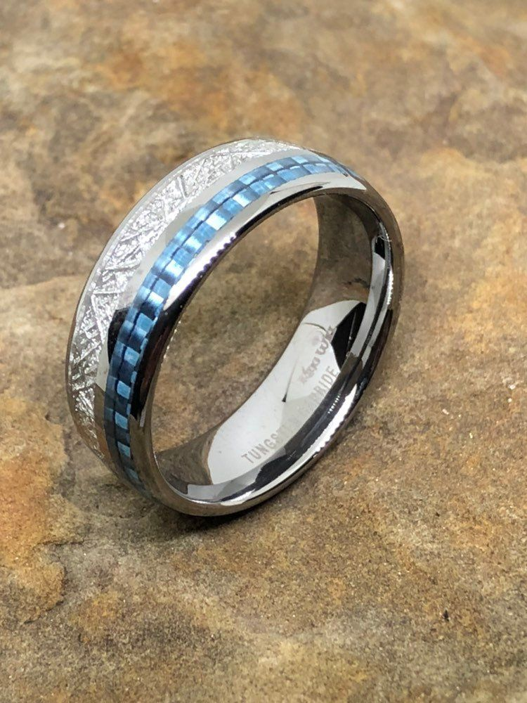 Men's meteor ring with blue carbon fiber inlay Tungsten