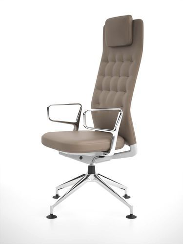 Office chair with headrest - design by Antonio Citterio ID TRIM L : FOUR-STAR BASE  vitra