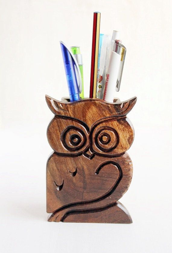 Office Pen Organizer Wood Owl Pencil Stand by LittleWoodCottage 7f8255f858