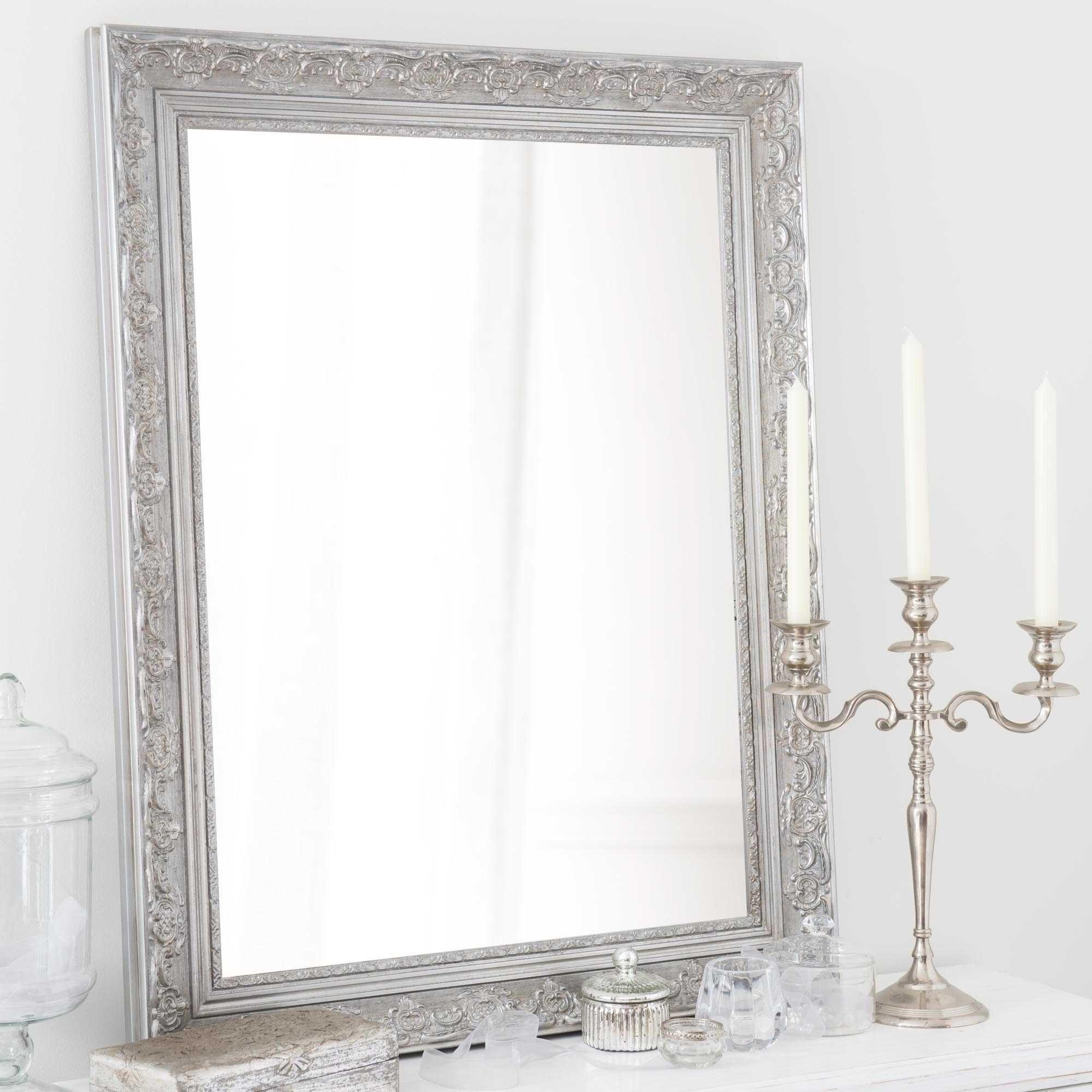Espejo de madera de paulonia plateado Al. 90 cm