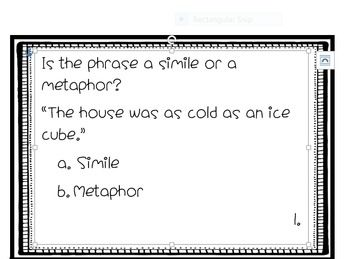 This simile and metaphor scoot is great for students to practice their new knowledge on similes and metaphor. There are 24 task cards provided in this download. The cards ask the students to recall definitions, infer meaning, and distinguish between similes and metaphors.