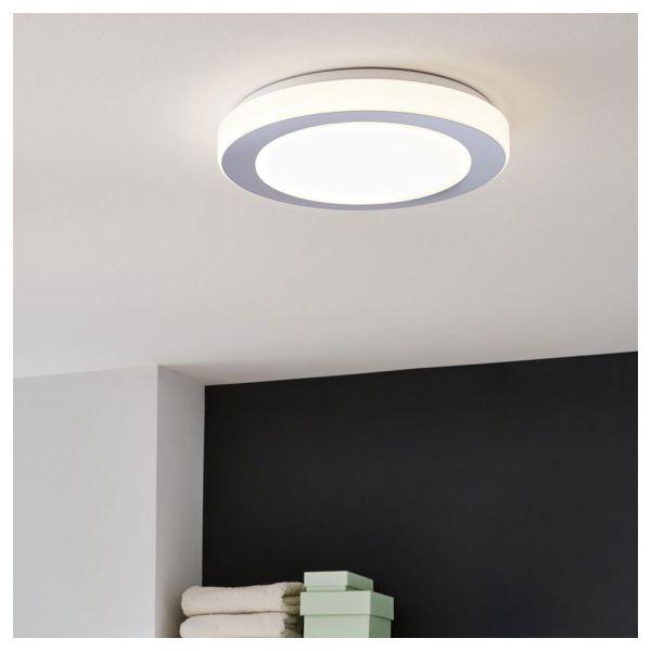 LED Deckenleuchte inkl Leuchtmittel, warmweiß, IP44, weiß, chrom, 385mm