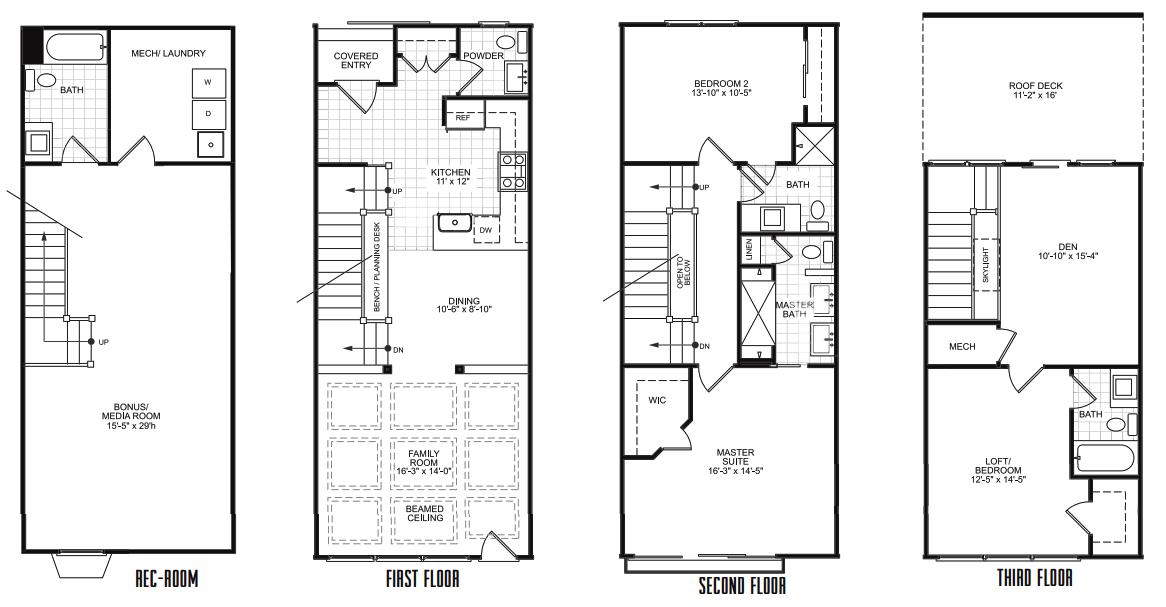 narrow row house floor plans Google Search Row Houses