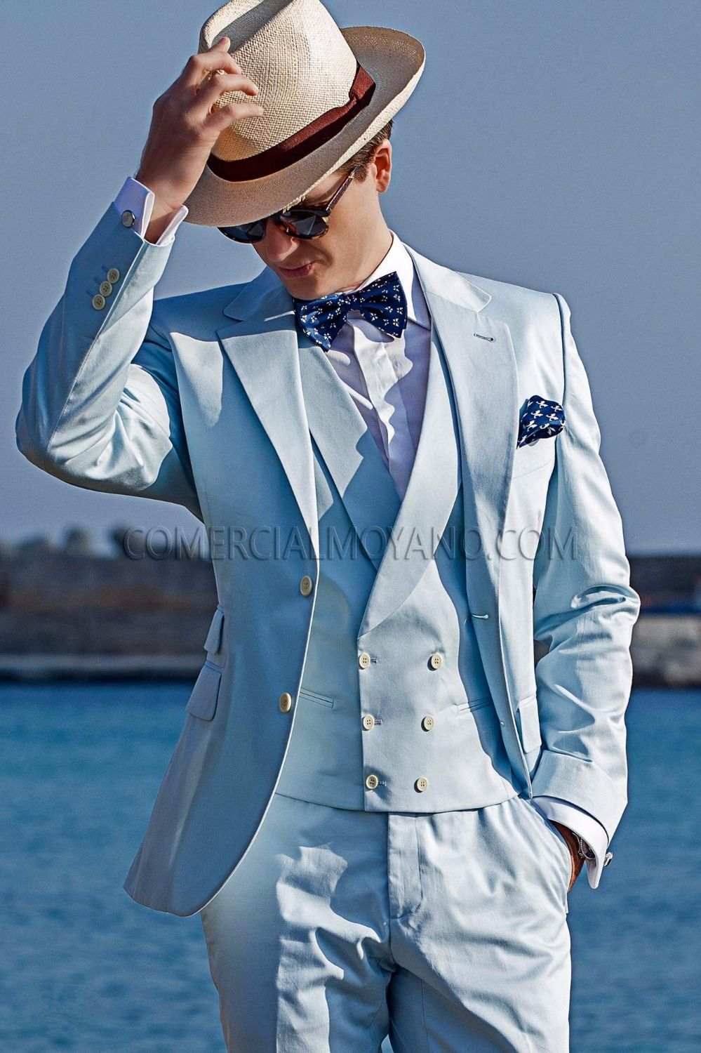 Latest Coat Pant Designs Light Blue Double Breasted Italian Beach ...