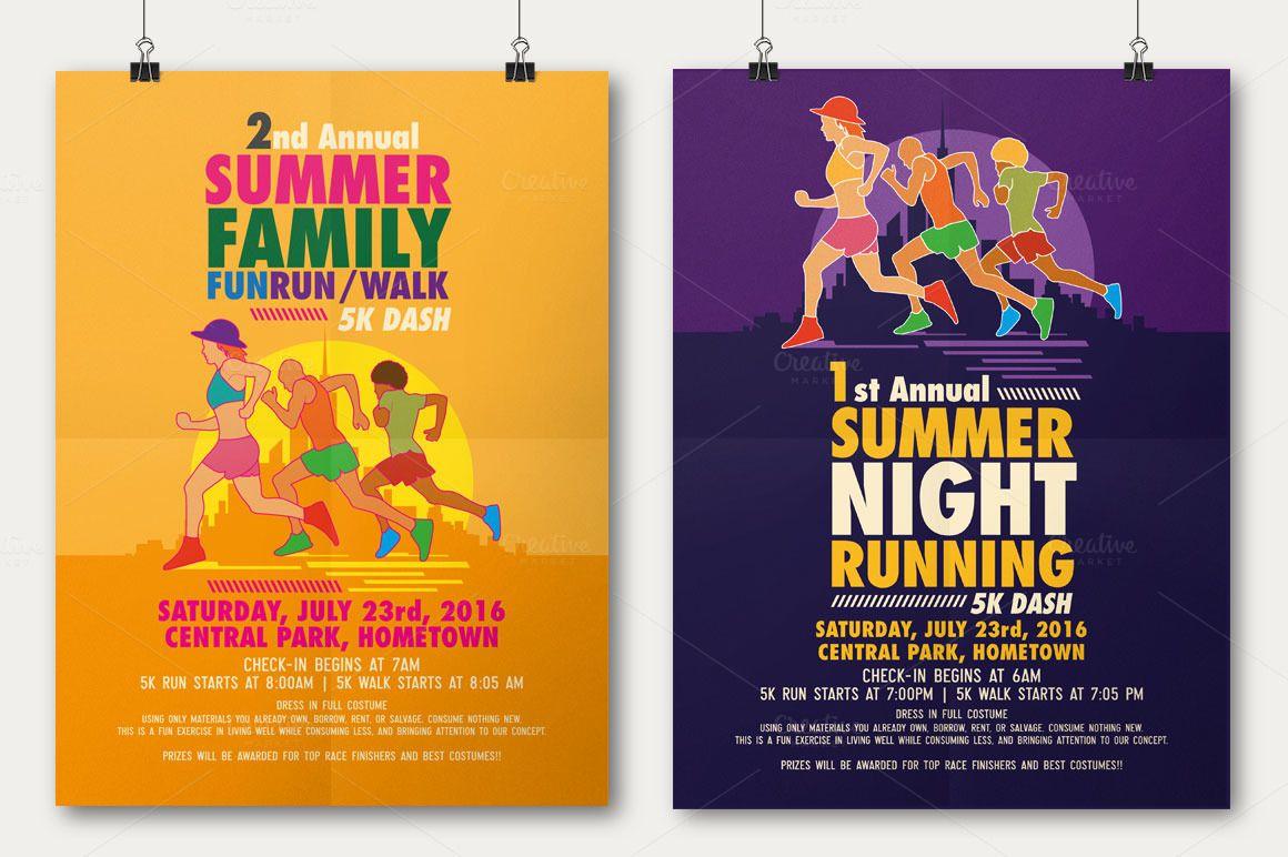 Summer Fun Run Flyer Poster Flyer Template Fun Run Poster Template