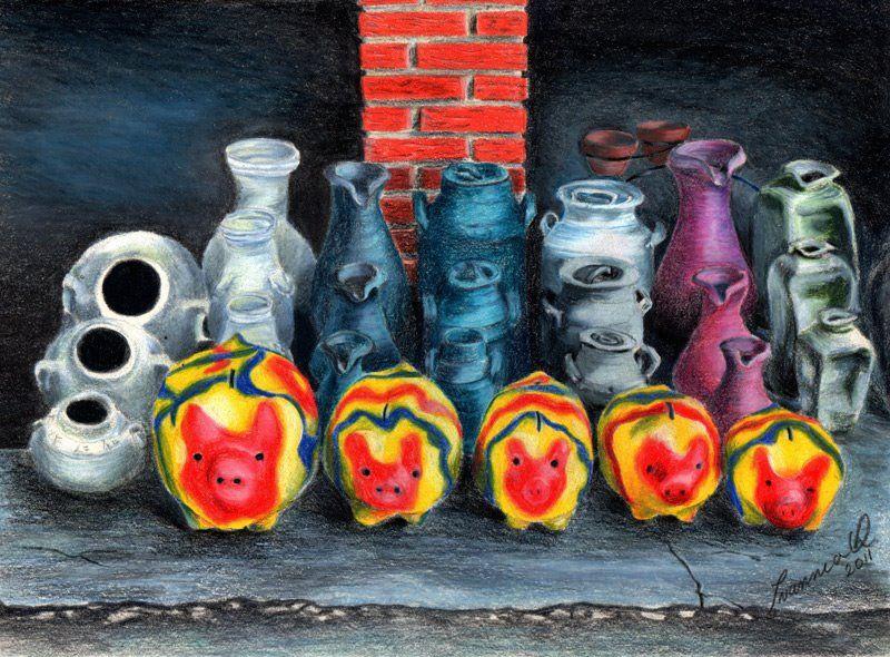 Técnica Lápiz De Color Artesanía Tradicional En Arcilla