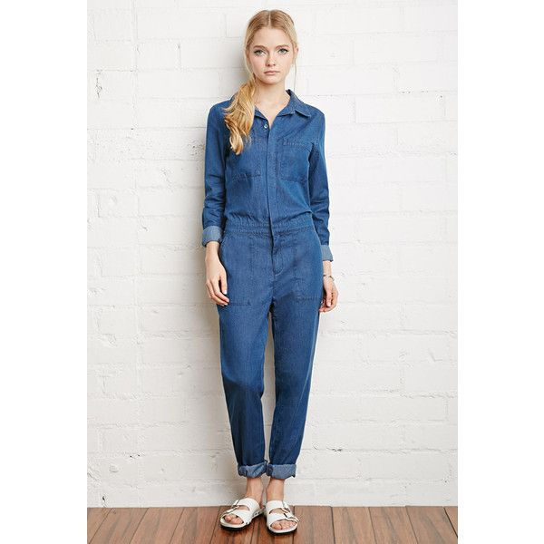 d2c649e342c Forever 21 Denim Utility Jumpsuit ( 35) ❤ liked on Polyvore ...
