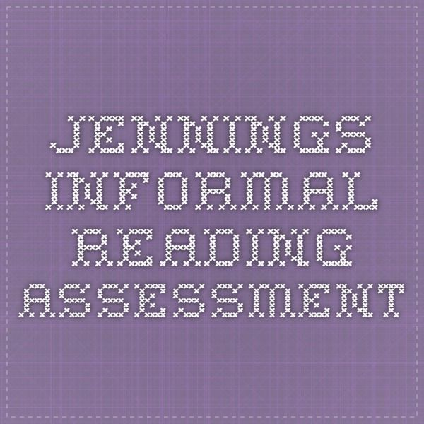 image about Printable Informal Reading Inventory named Jennings Relaxed Studying Examination Diagnostic Examining