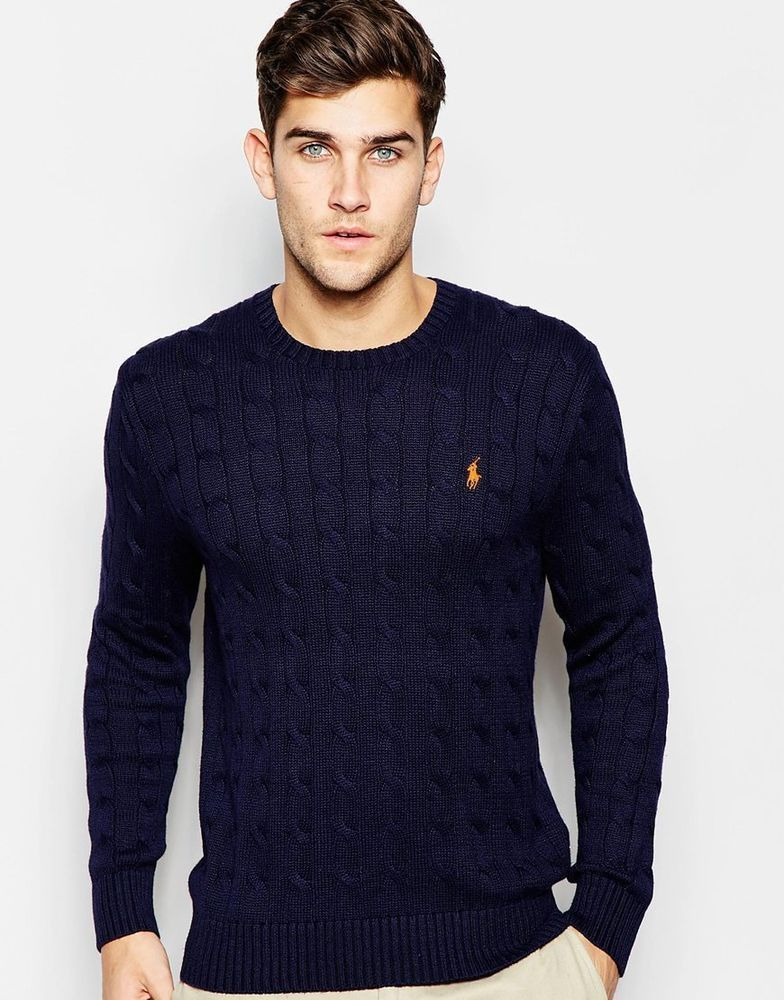 Polo Ralph Lauren Men\u0027s Jumper with Cable Knit In Navy Size XL Chest 42-44\