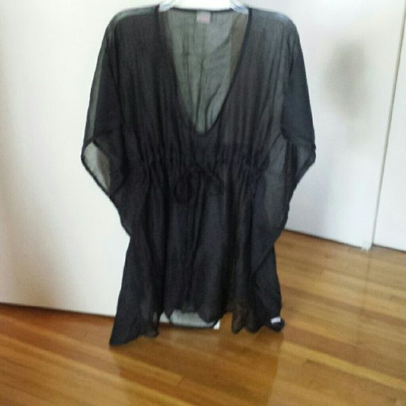 Cover up Black drawstring  cover up.  Sheer coverage. Echo Swim Coverups