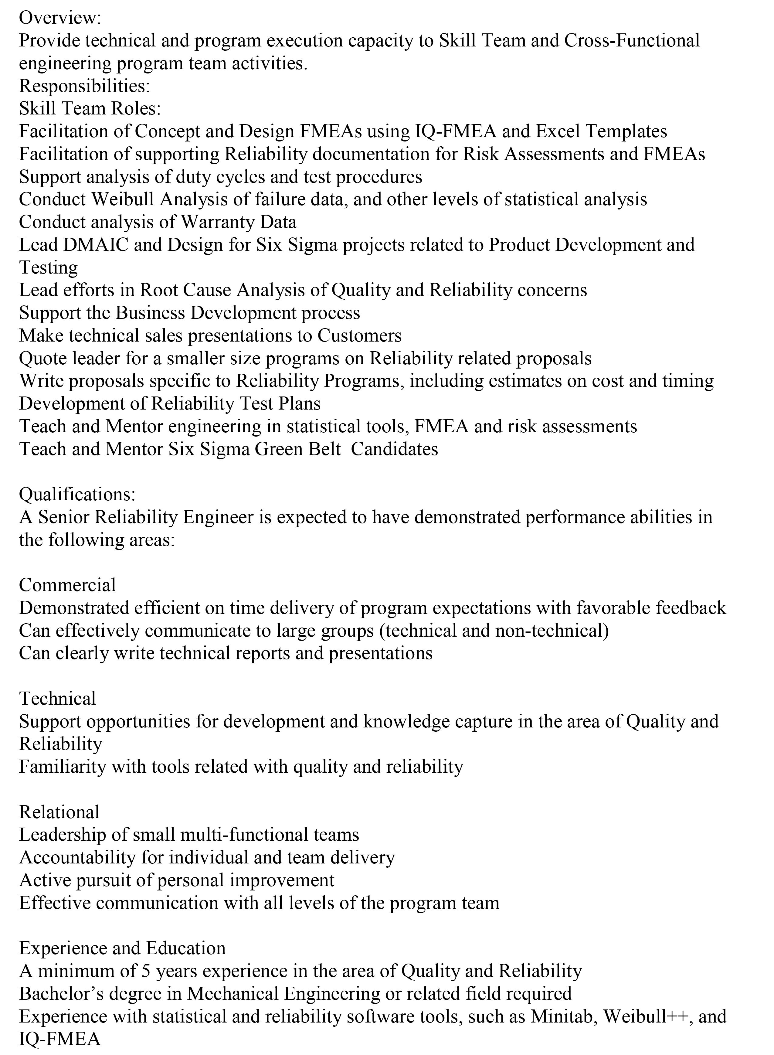 Reliability Engineer If you are interested in this position please ...