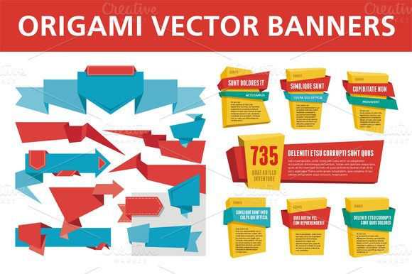 Check out Origami Vector Banners & Labels by serkorkin on Creative Market