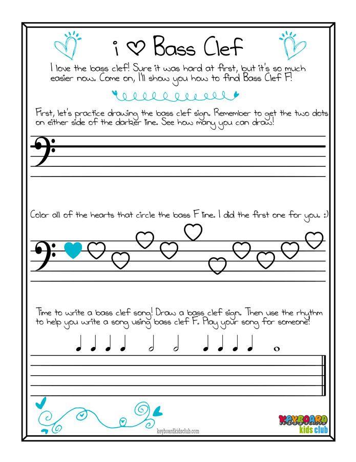 free printable piano bass clef worksheet valentines day pdf keyboard kids club practice drawing - Valentine Worksheets Free