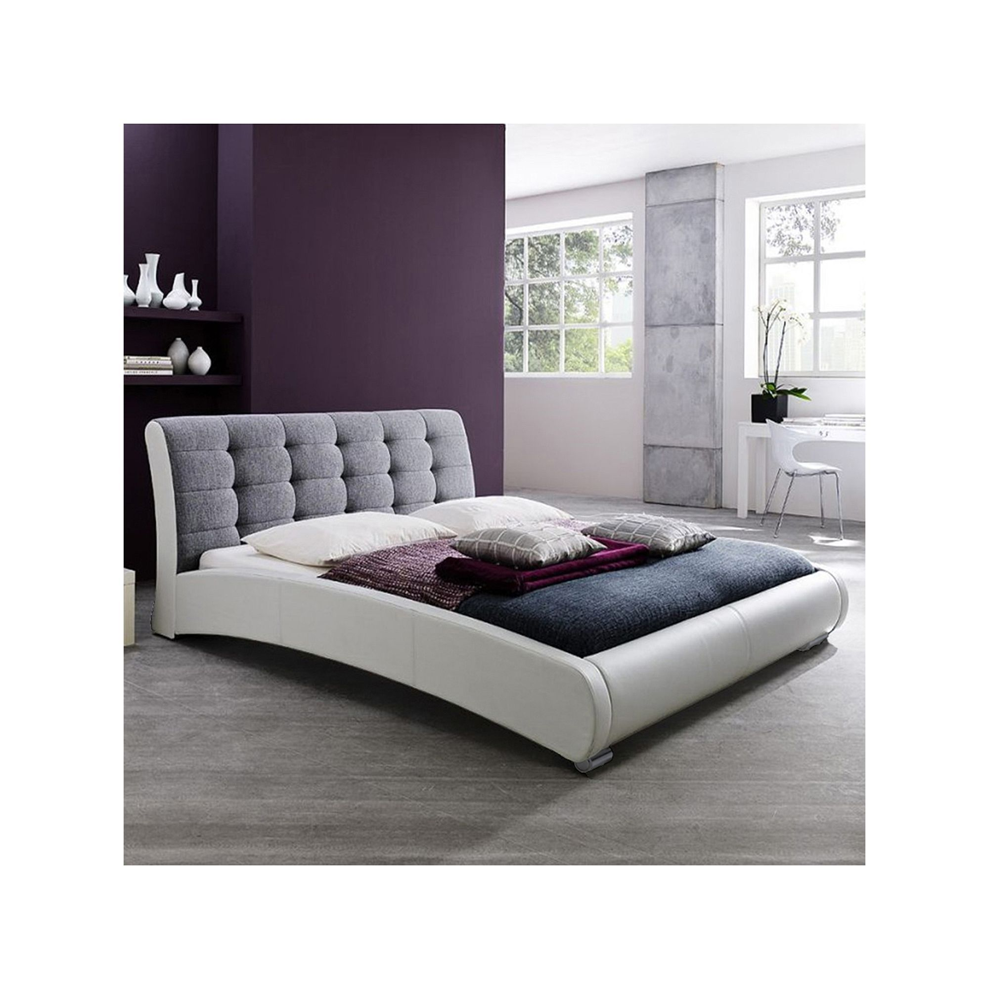 Baxton Studio Guerin Faux-Leather Two-Tone Tufted Queen Platform Bed ...