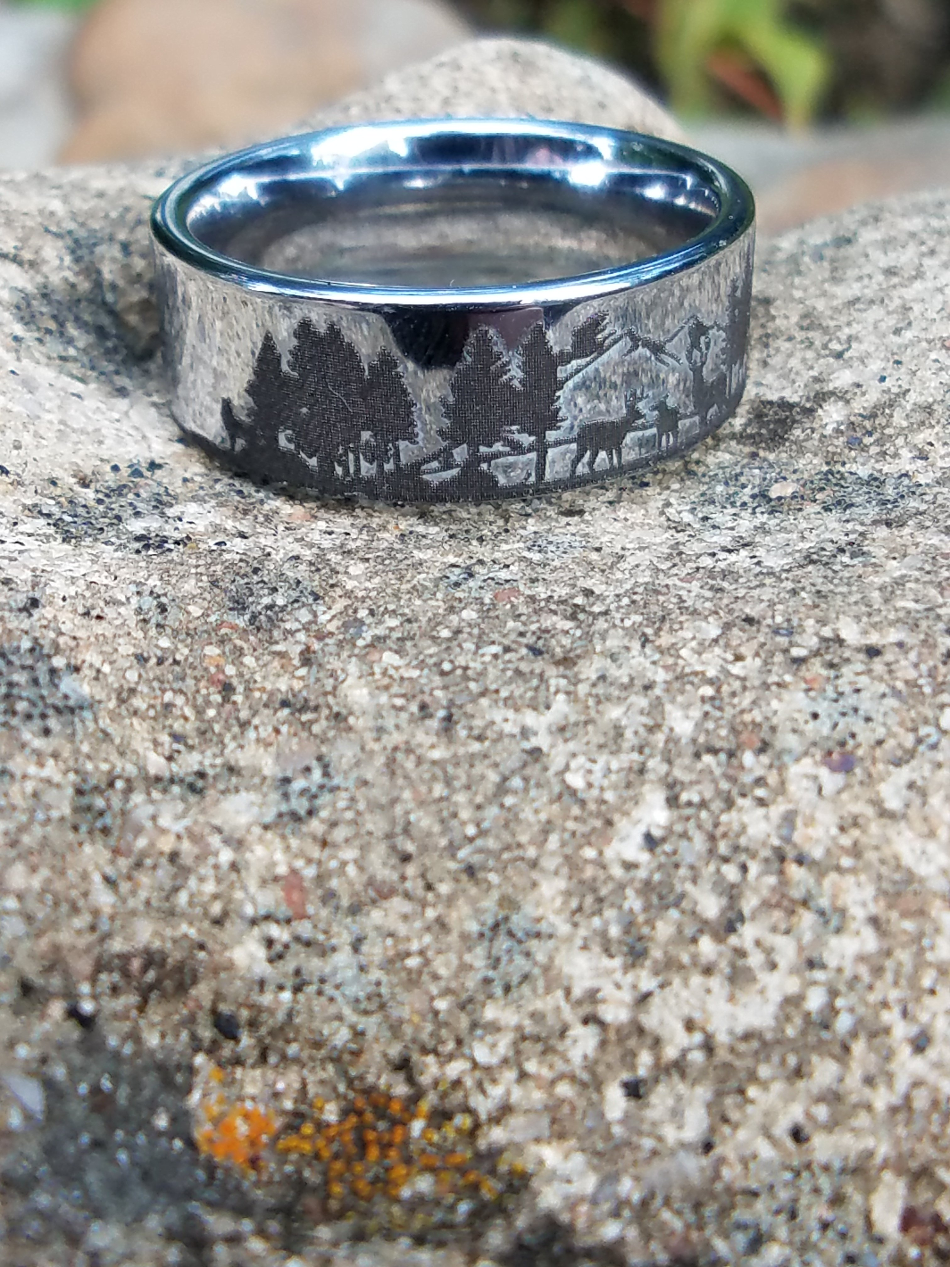 Crafted From Tungsten Carbide This Flat Styled Band Has Been Polished And Engraved With A Stunning Reindeer Mountain Range Landscape Scene: Wedding Rings Nature Scene At Reisefeber.org