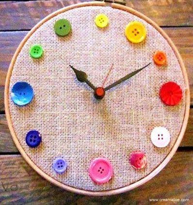 Diy Button Clock Crafts Diy Buttons Diy Clock Diy