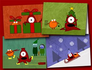 Squid and Frog Holiday Cards