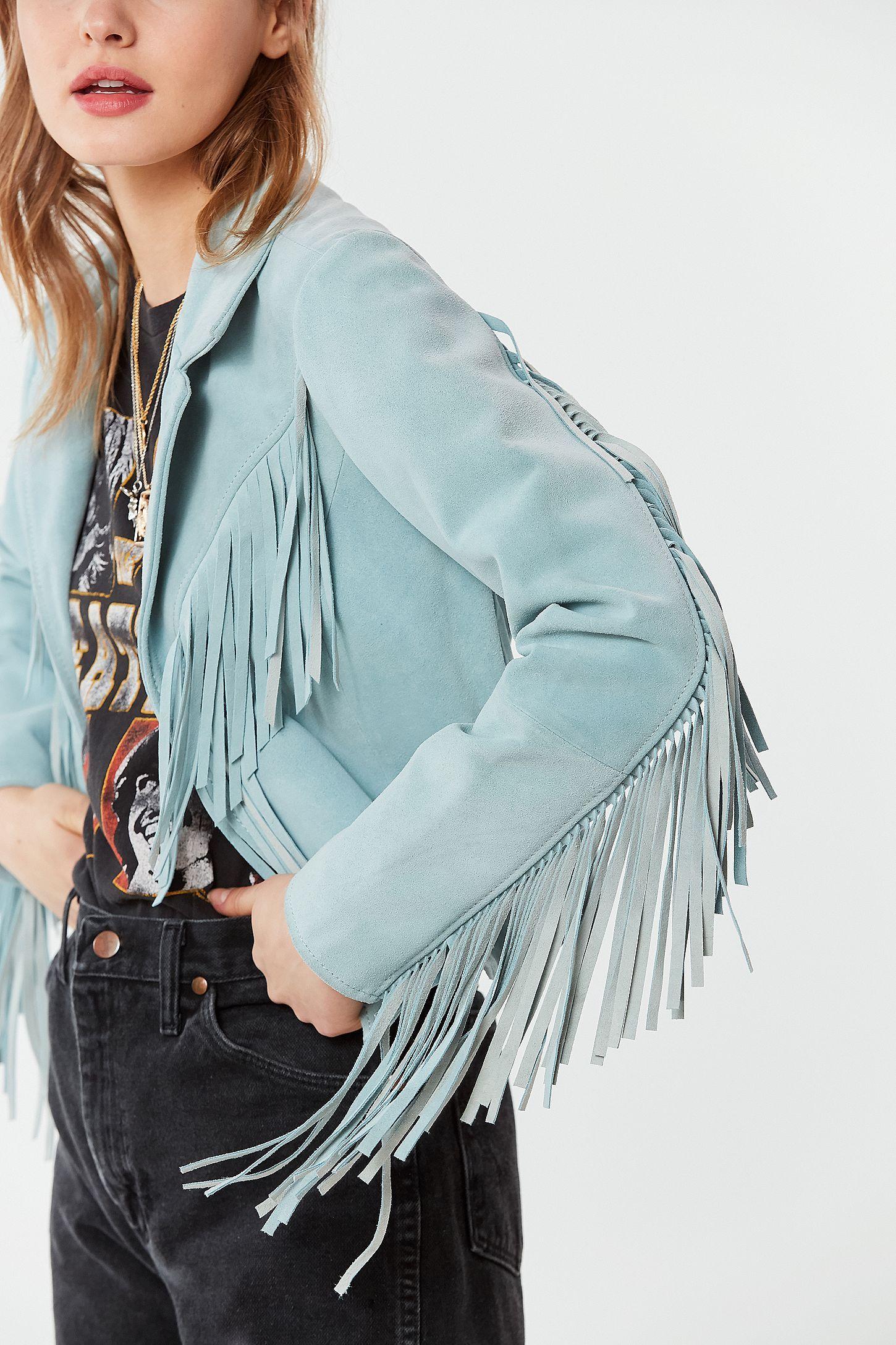 Wrangler + UO Friday's Child Suede Fringe Jacket Leather