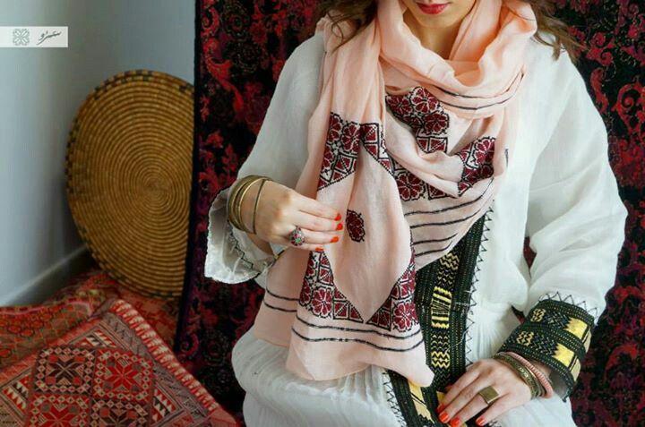 Damask rose embroidery - Ramallah area  saru fashion palestinian embroidery