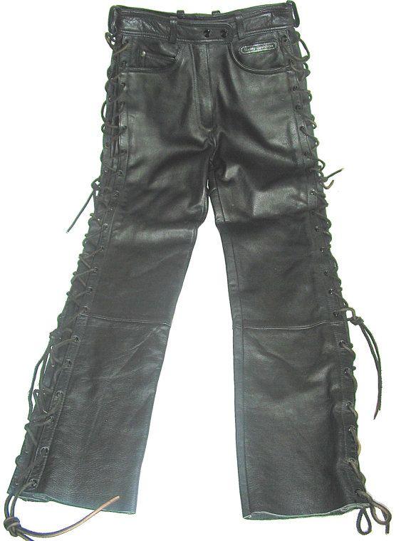 83c967ff149da Harley Davidson biker black leather pants womens 6 26x29 lace up skinny  funky rare mint