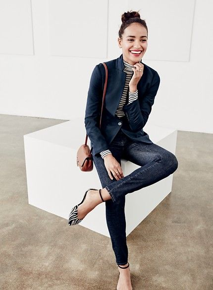J. Crew Blazer and stripe top and flats.So clean and classy