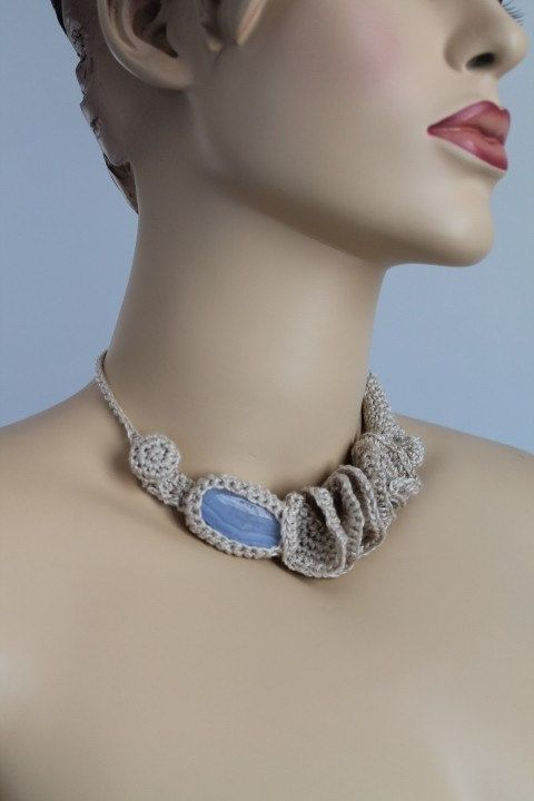 Off White Crochet Necklace - Crochet Jewelry  - Summer Fashion - Blue Agate Stone. $42,00, via Etsy.