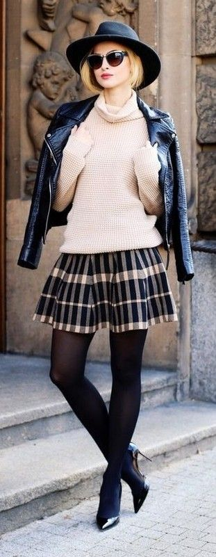 Black Hat, Black Leather Jacket, beige Turtleneck, Plaid Pleated Skirt, Black Tights, Black Pointy Louboutin Heels | Beauty Fashion Shopping