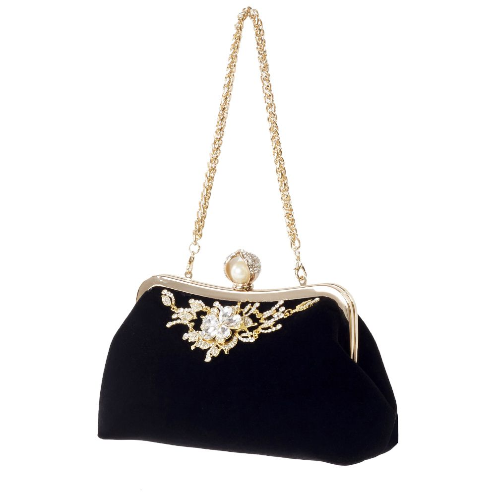 4cf2d4b60f Barato Veludo feminino Pérola do Diamante Bolsa De Veludo Do Vintage  Cristal Flor Projeto vestido de