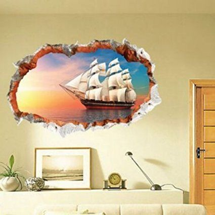 Removable Pirate Ship Wall Decal Extra Large Hole In The Wall Pirate ...