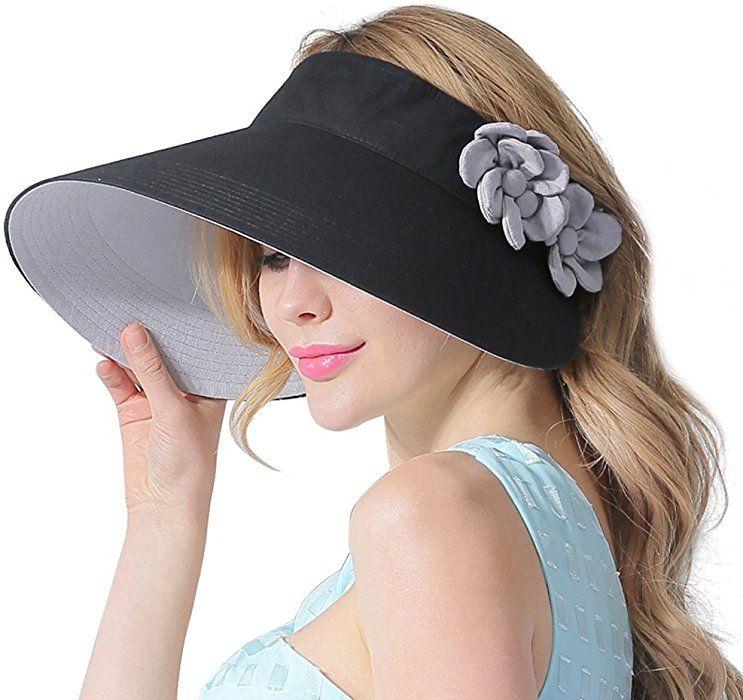 Cacuss Women S Summer Sun Hat Large Brim Visor Adjustable Velcro Packable Upf 50 Black Flower At Amazon Women S C In 2020 Summer Sun Hat Sun Hats For Women Sun Hats