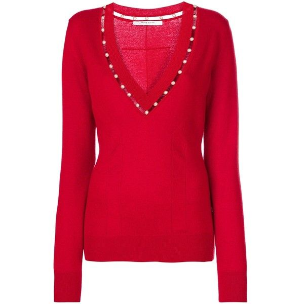 Givenchy Red V-Neck Sweater (€1.065) ❤ liked on Polyvore ...