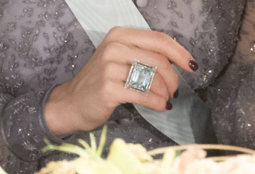 Aquamarine ring, worn by Princess Madeleine at Nobel Dinner 2015. Princess Madeleine inherited the ring from her great-aunt, Princess Lilian.