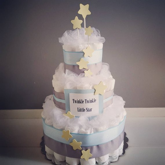 Twinkle Twinkle Little Star Diaper Cake Baby Shower Boy Baby