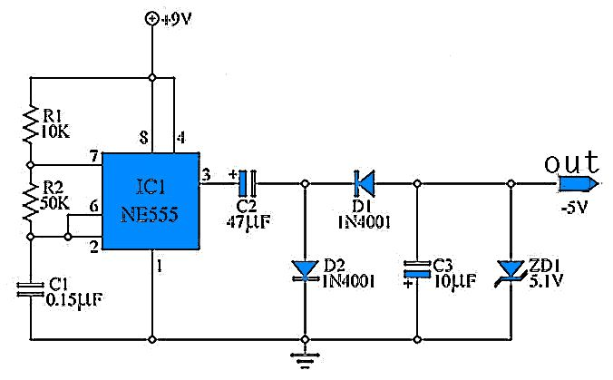 9 to -5 Volt DC Converter | Electronic & Electric in 2019 ...  Volt Circuit Diagram on