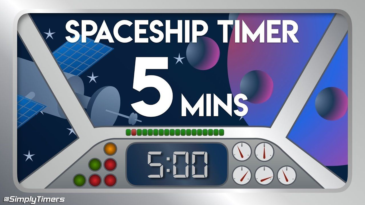 5 min space ship rocket pilot countdown timer in space classroom