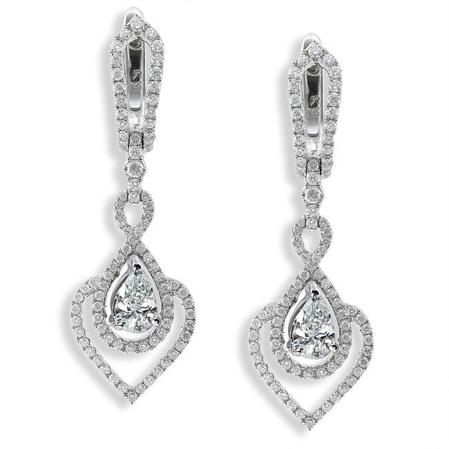 One of a Kind Diamond Drop Earrings 1 1/10ct 14k White Gold. Matching necklace available.