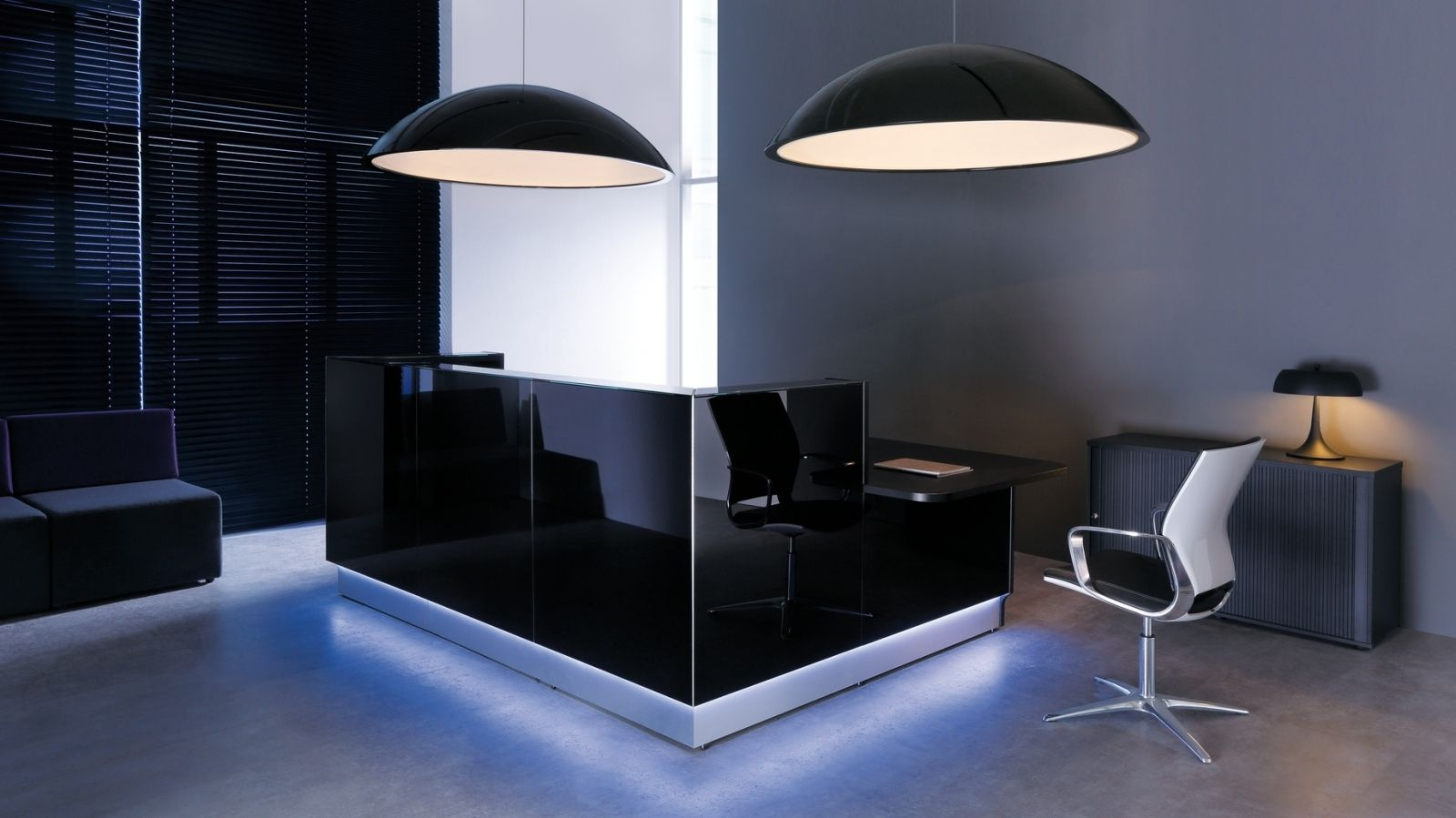 Modern Black Reception Desk Design For Office With Light Modern Reception Desk Reception Desk Design Reception Furniture