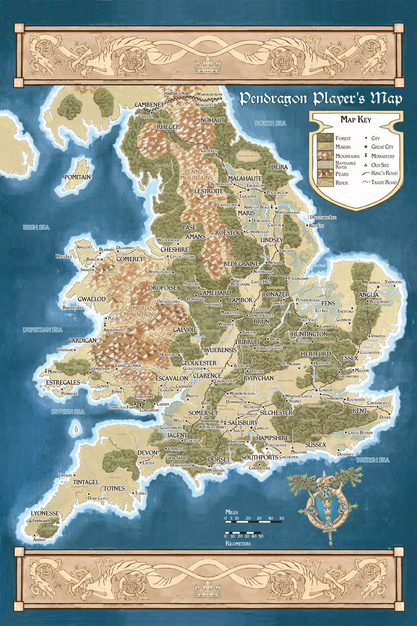 King Arthur Pendragon Notes Maps And Links For Your