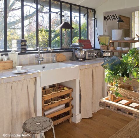 Plus de portes de placards mais des rideaux plus doux que porte en dur inspiration maison - Rideaux pour placard de cuisine ...