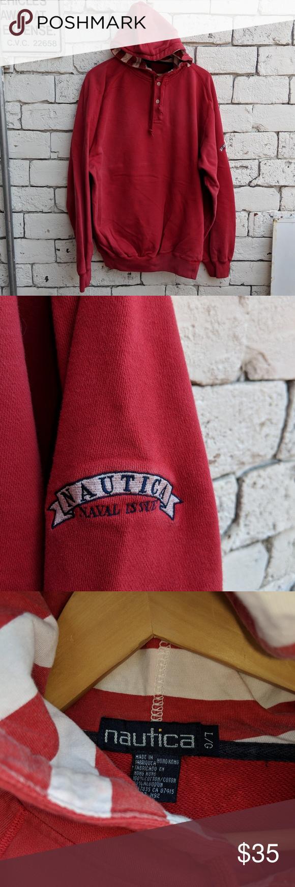 Vintage Nautica Hoodie My Posh Closet Pinterest Polos Hodie Size L Pit To 245 Sleeve 26 Length Collar Bottom 27 90s Polo