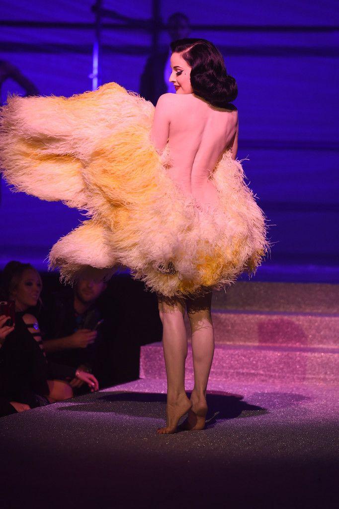 73dbfa97849 Dita Von Teese performs on stage for the Philipp Plein Spring 2018 show  during New York Fashion Week at Hammerstein Ballroom on September 9