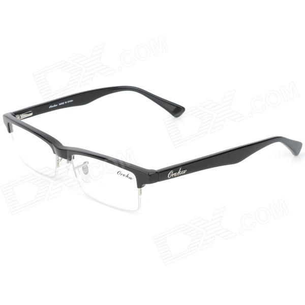 oreka 011 retro half frame resin lens glasses black