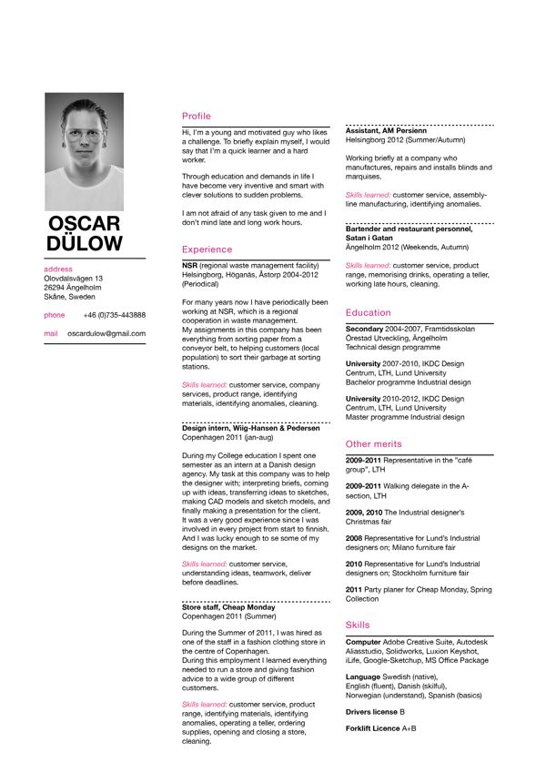 Creative Arts and Graphic Design Resume Examples