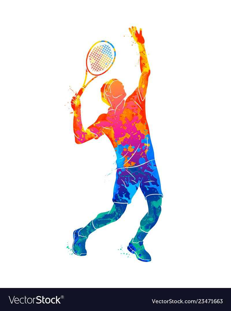 Abstract Tennis Player With A Racket From Splash Vector Image Tennis Players Tennis Tennis Art