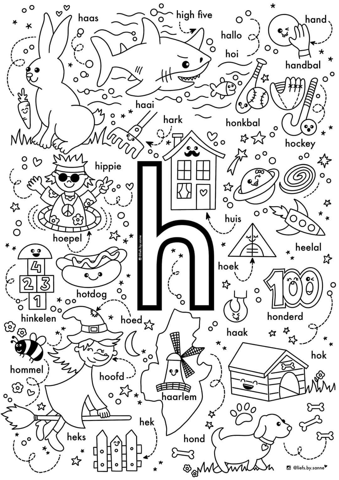 H Woorden Kleurplaat Letterherkenning Alfabet Kleurplaten Letterherkenning Spelletjes