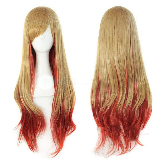 Pastel Wig Ombre wig Golden Red Wigs Bangs by BeautyActionWigs