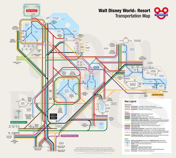 Walt Disney World Transportation Map in Metro Style by WDWFocus | I ...