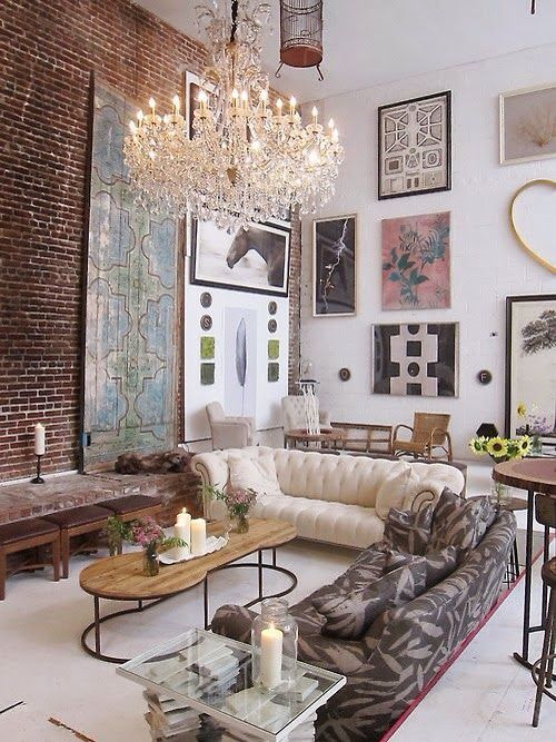 Living Room W/ Gorgeous Chandelier, Dramatic High Ceiling, Exposed Brick  Wall, U0026 Great Mix Of Decor
