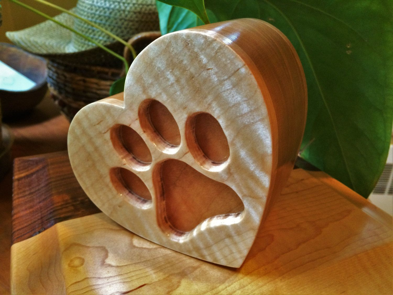 Large Dog Paw Print Heart Shaped Tiger Maple and Black