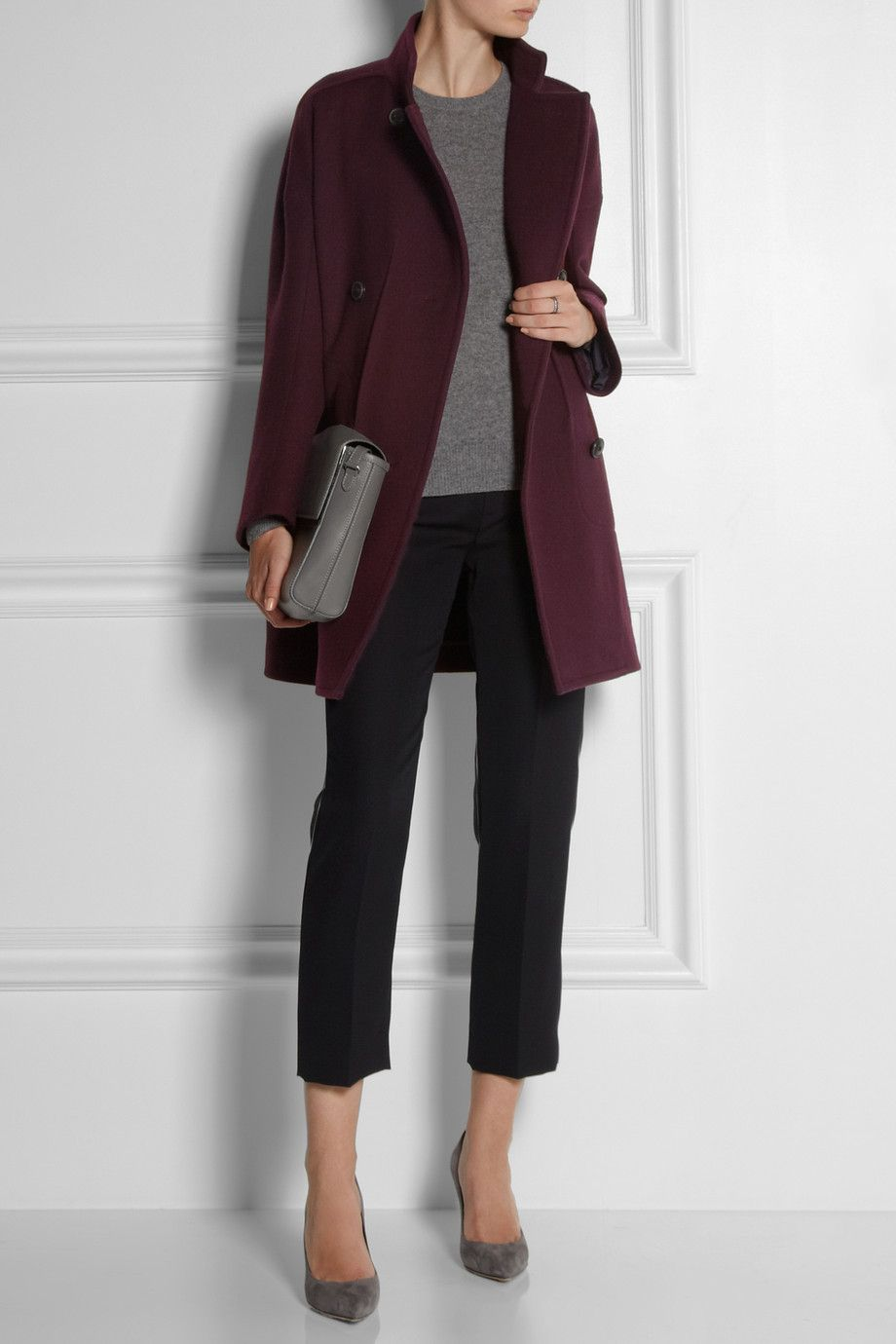 Burgundy Wool Coat From Jil Sander Pants Chlou00e9 Heels Gianvito Rossi Top Equipment Bag Maison ...